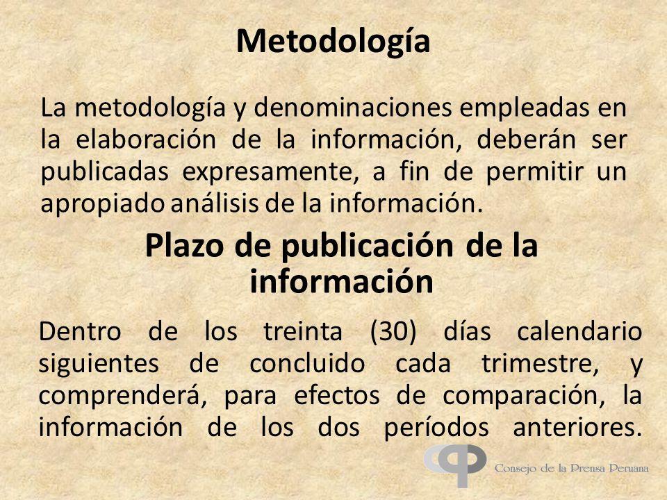 Plazo de publicación de la información