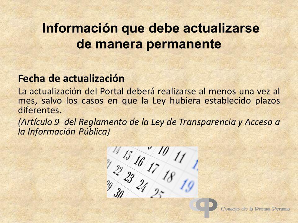 Información que debe actualizarse de manera permanente