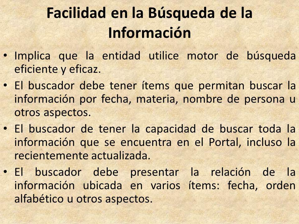 Facilidad en la Búsqueda de la Información