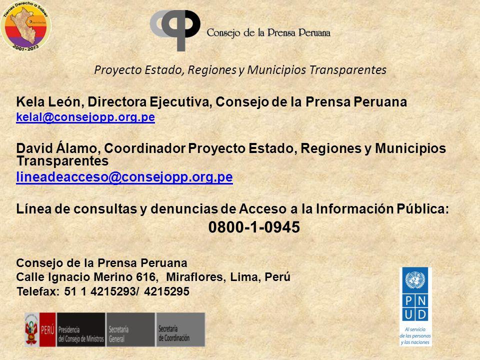 Proyecto Estado, Regiones y Municipios Transparentes