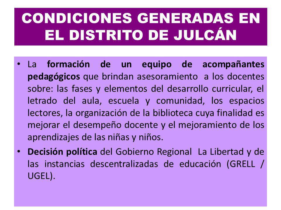 CONDICIONES GENERADAS EN EL DISTRITO DE JULCÁN