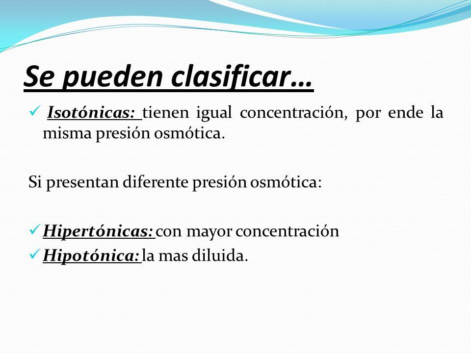 Se pueden clasificar… Isotónicas: tienen igual concentración, por ende la misma presión osmótica. Si presentan diferente presión osmótica: