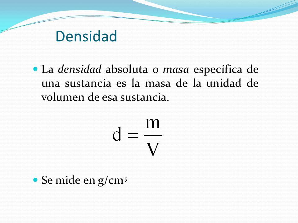 DensidadLa densidad absoluta o masa específica de una sustancia es la masa de la unidad de volumen de esa sustancia.