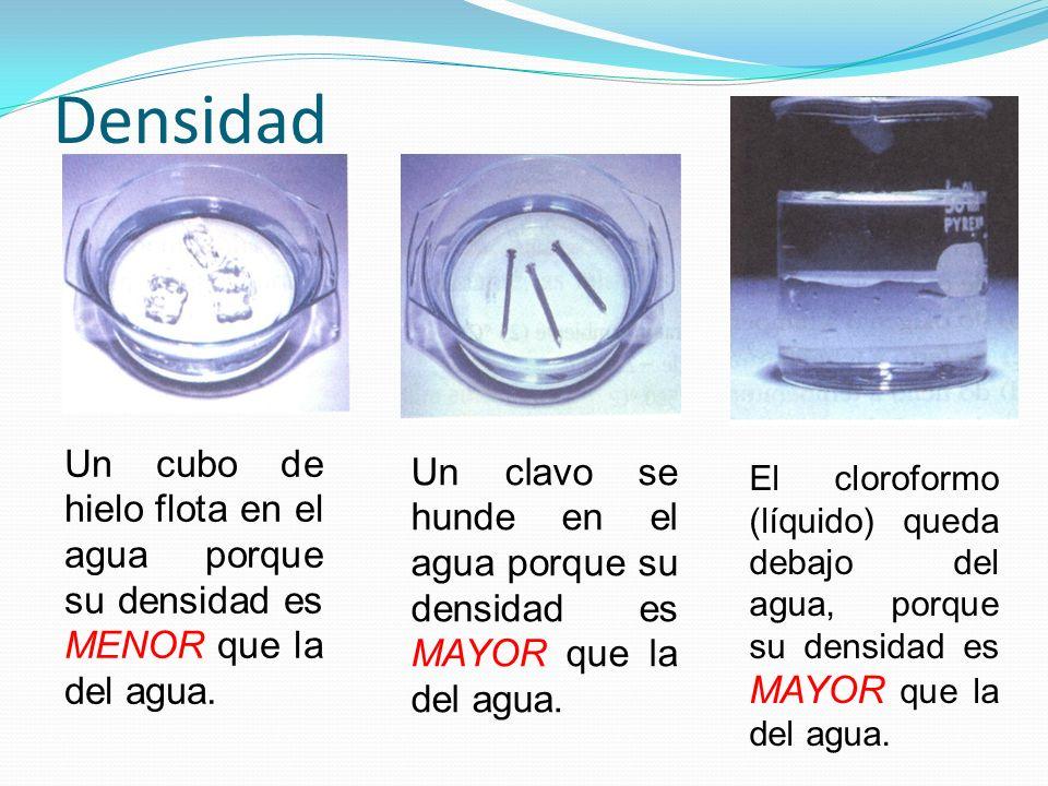 DensidadUn cubo de hielo flota en el agua porque su densidad es MENOR que la del agua.