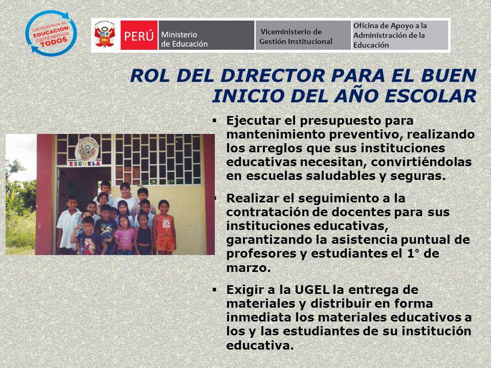 rol del director PARA EL BUEN INICIO DEL AÑO ESCOLAR