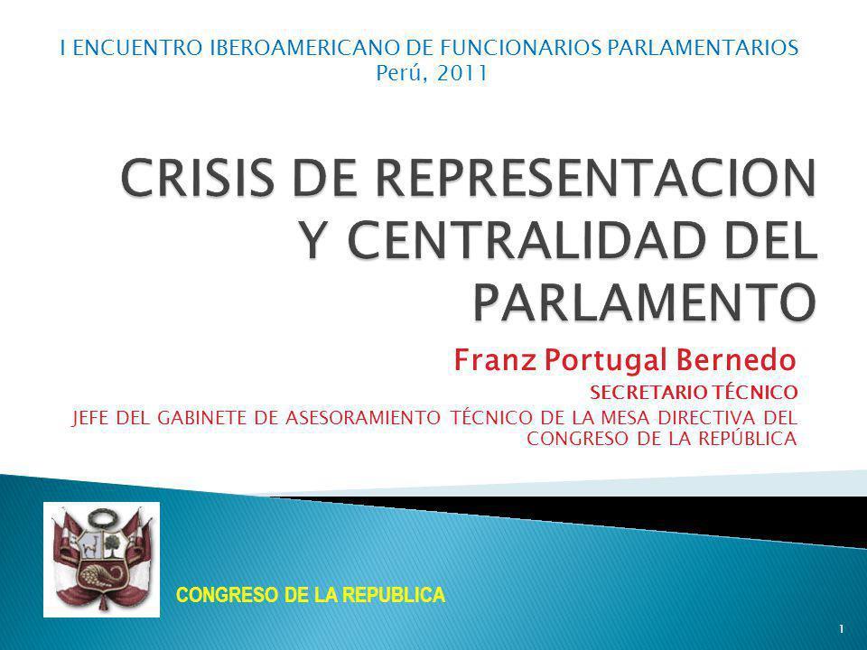 CRISIS DE REPRESENTACION Y CENTRALIDAD DEL PARLAMENTO
