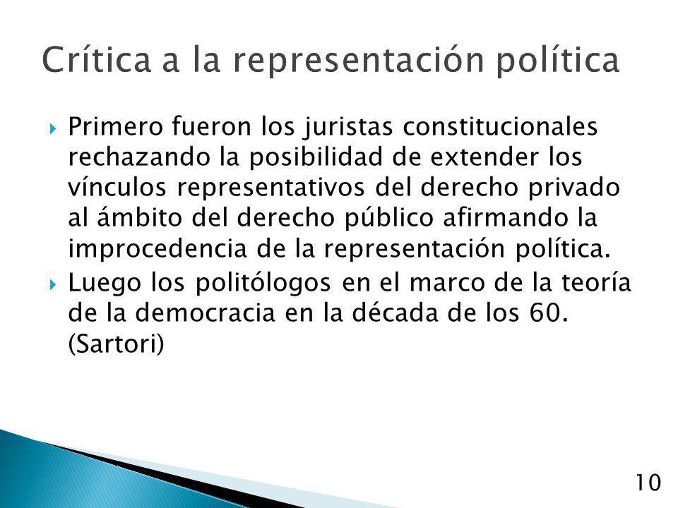 Crítica a la representación política