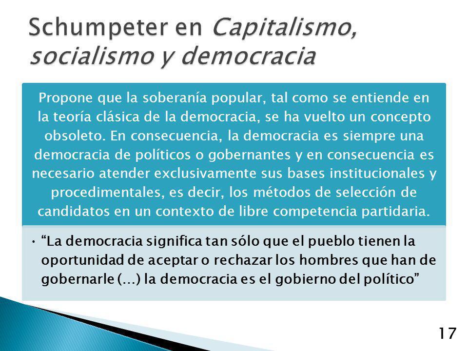 Schumpeter en Capitalismo, socialismo y democracia
