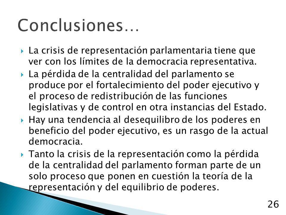 Conclusiones… La crisis de representación parlamentaria tiene que ver con los límites de la democracia representativa.