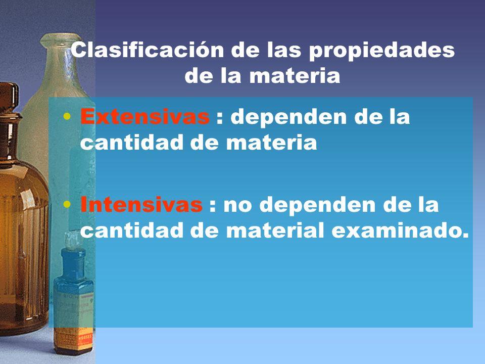 Clasificación de las propiedades de la materia