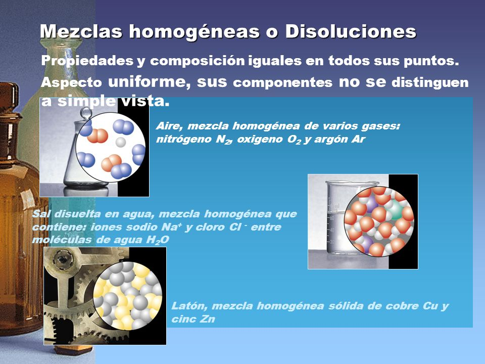 Mezclas homogéneas o Disoluciones