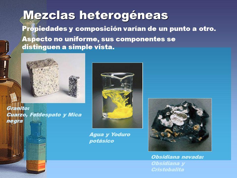 Mezclas heterogéneas Propiedades y composición varían de un punto a otro. Aspecto no uniforme, sus componentes se distinguen a simple vista.