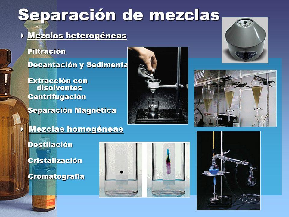 Separación de mezclas Mezclas heterogéneas Mezclas homogéneas