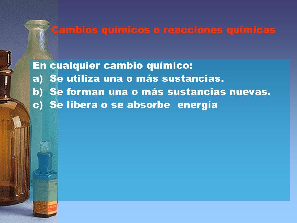Cambios químicos o reacciones químicas