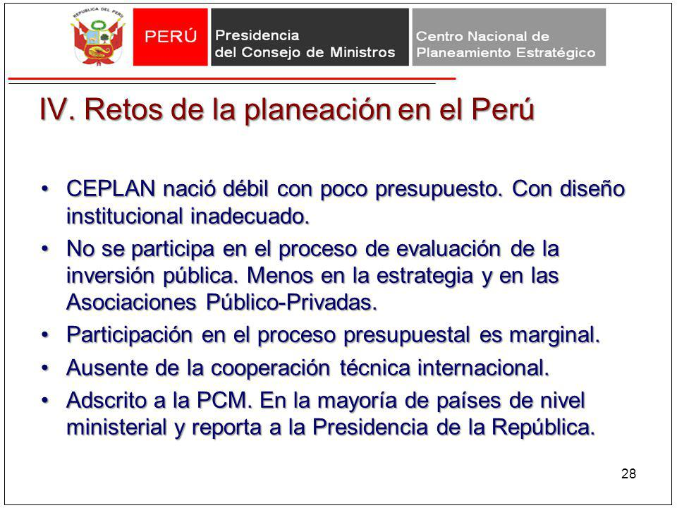 IV. Retos de la planeación en el Perú