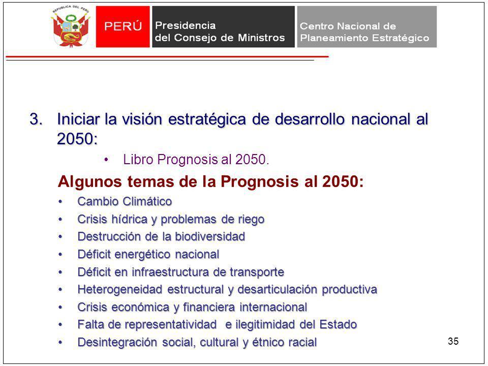 Iniciar la visión estratégica de desarrollo nacional al 2050: