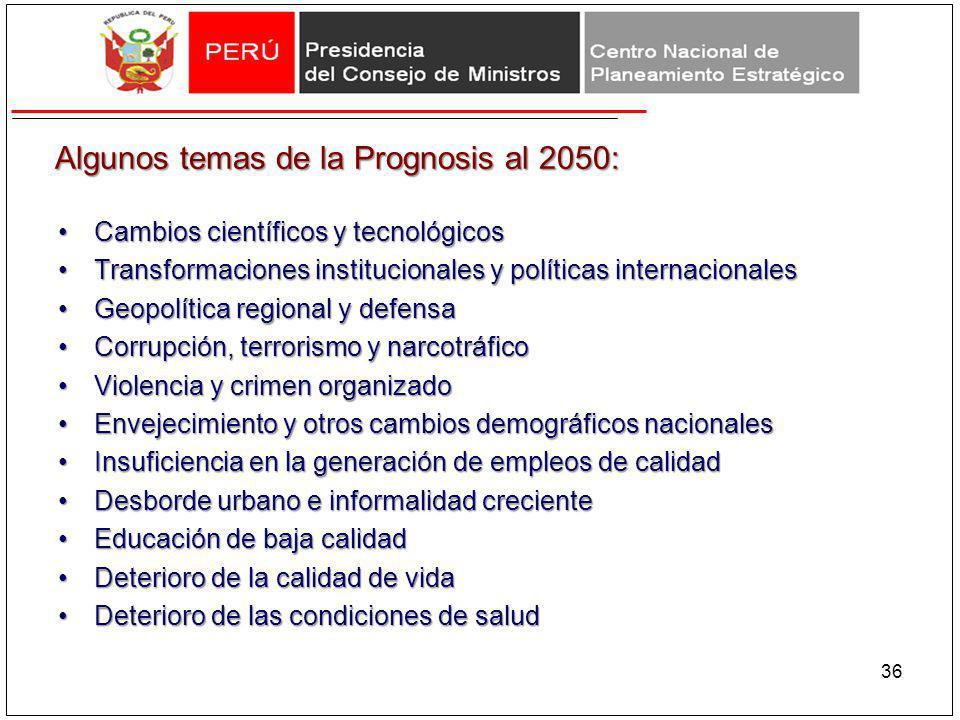 Algunos temas de la Prognosis al 2050:
