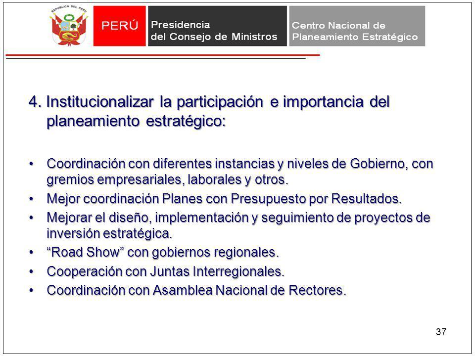 4. Institucionalizar la participación e importancia del planeamiento estratégico: