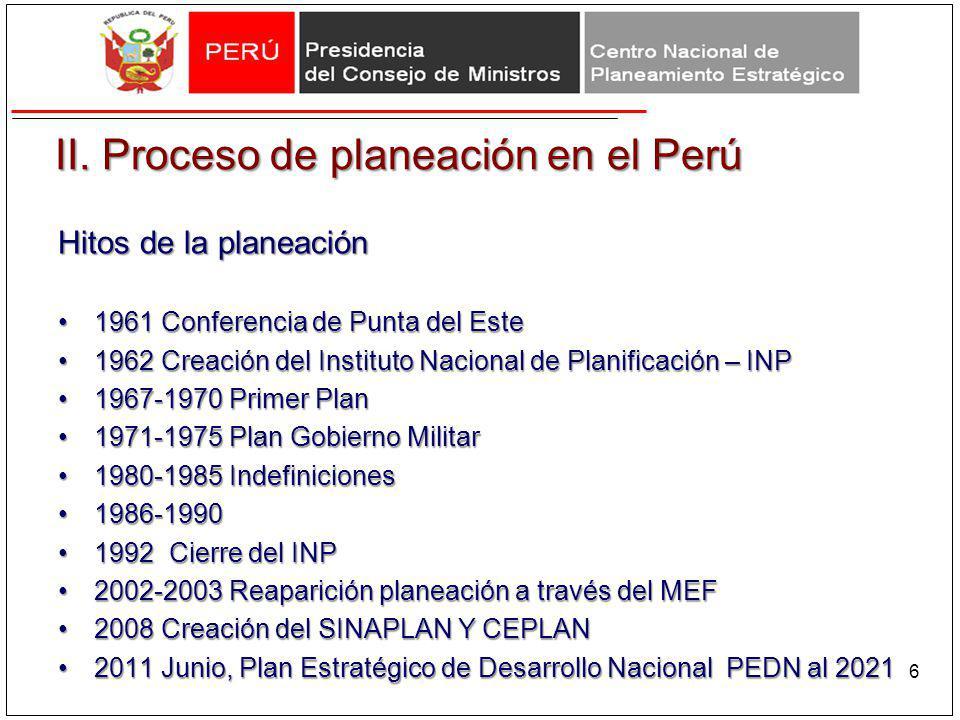 II. Proceso de planeación en el Perú