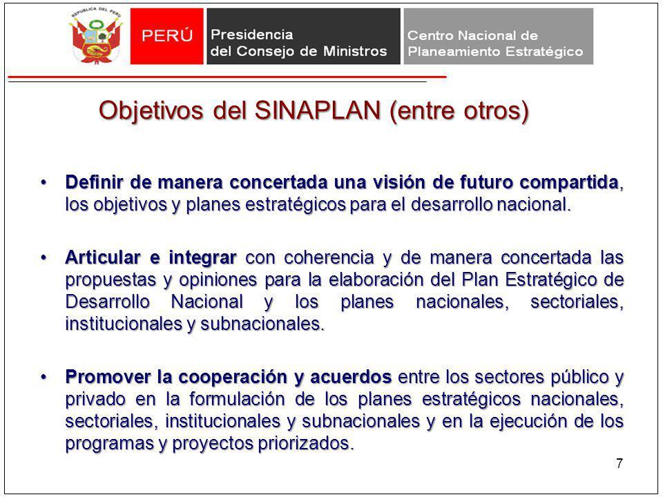 Objetivos del SINAPLAN (entre otros)