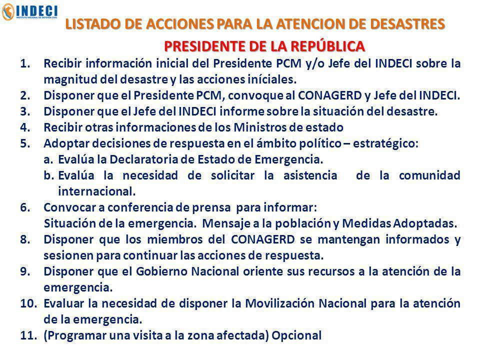LISTADO DE ACCIONES PARA LA ATENCION DE DESASTRES