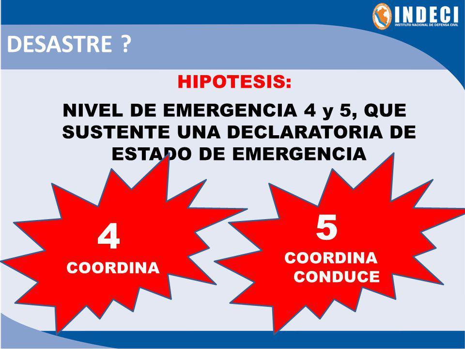 DESASTRE HIPOTESIS: NIVEL DE EMERGENCIA 4 y 5, QUE SUSTENTE UNA DECLARATORIA DE ESTADO DE EMERGENCIA.