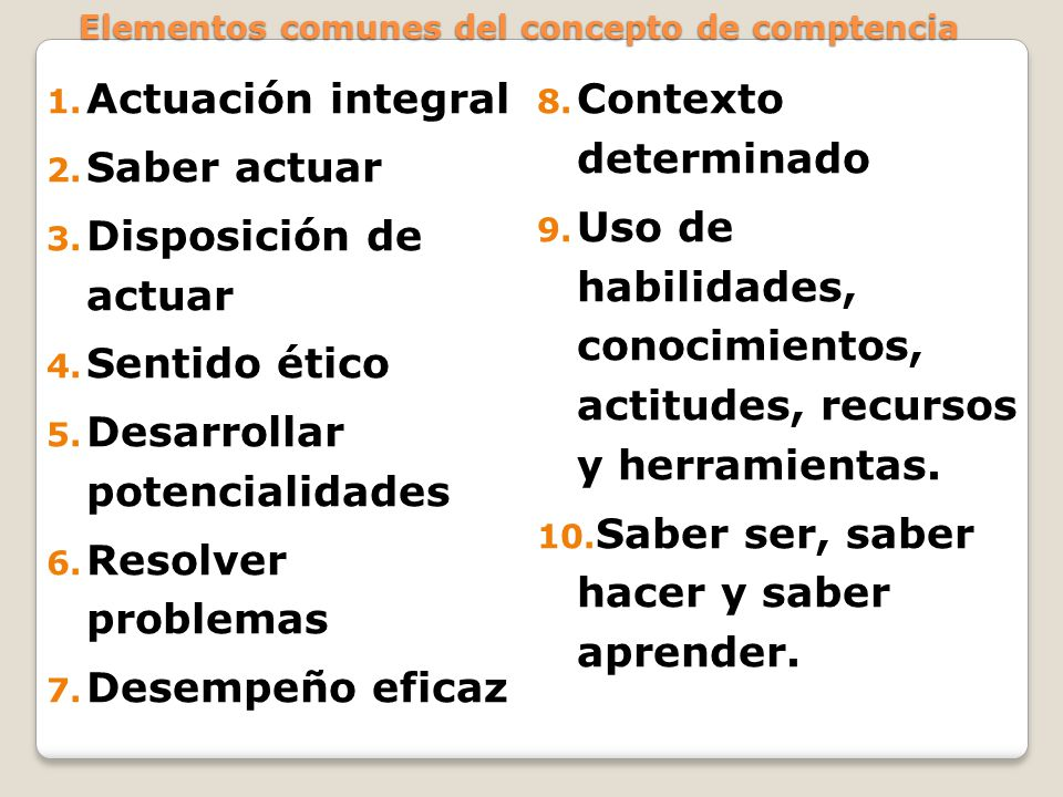 Elementos comunes del concepto de comptencia