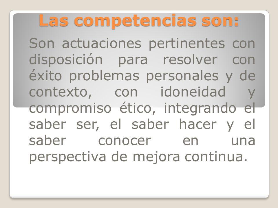 Las competencias son: