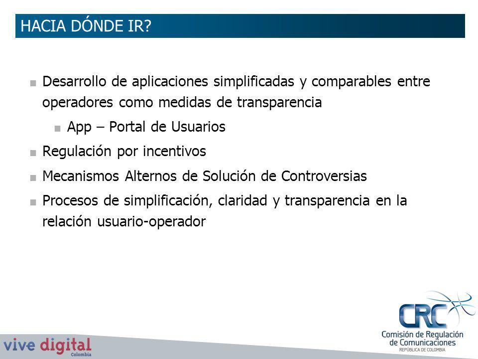 HACIA DÓNDE IR Desarrollo de aplicaciones simplificadas y comparables entre operadores como medidas de transparencia.