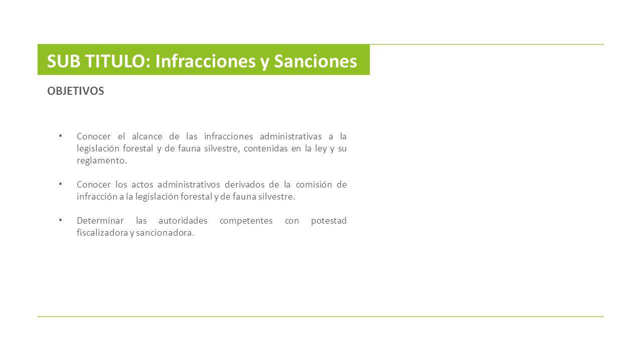 SUB TITULO: Infracciones y Sanciones