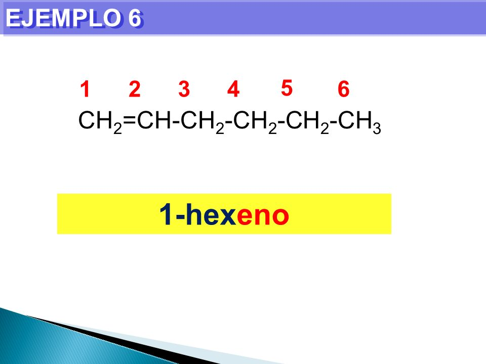 EJEMPLO 6 1 2 3 4 5 6 CH2=CH-CH2-CH2-CH2-CH3 1-hexeno