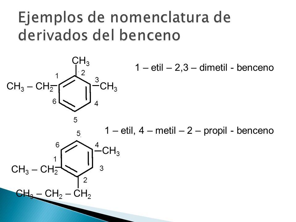Ejemplos de nomenclatura de derivados del benceno