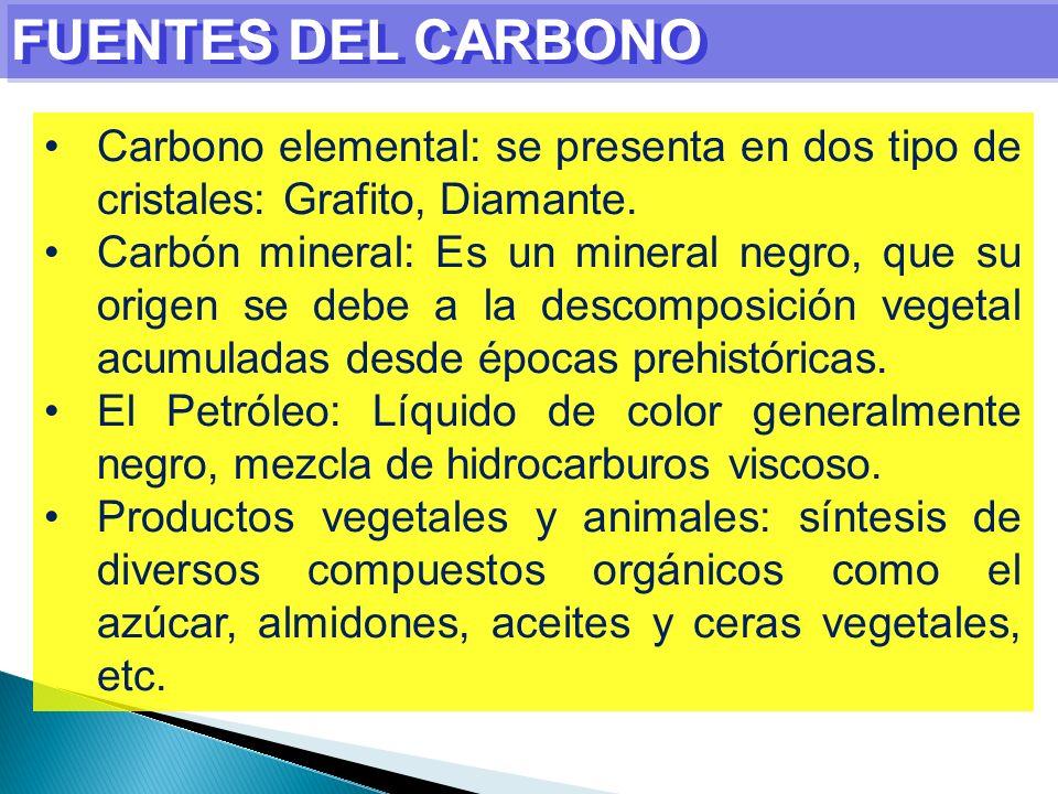 FUENTES DEL CARBONO Carbono elemental: se presenta en dos tipo de cristales: Grafito, Diamante.
