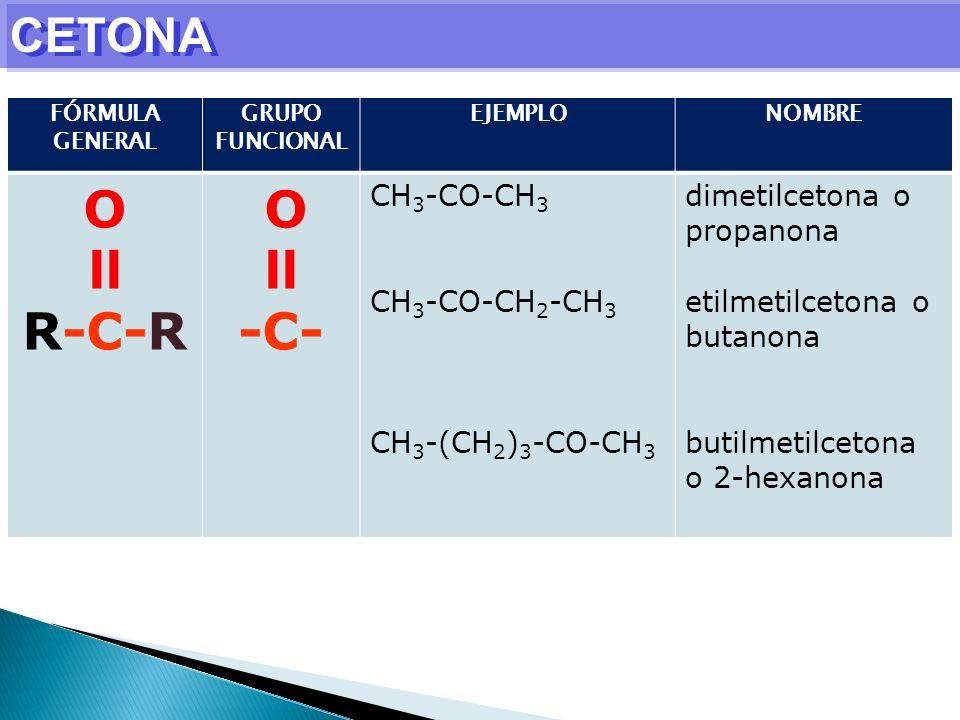 O ll R-C-R -C- CETONA CH3-CO-CH3 CH3-CO-CH2-CH3 CH3-(CH2)3-CO-CH3