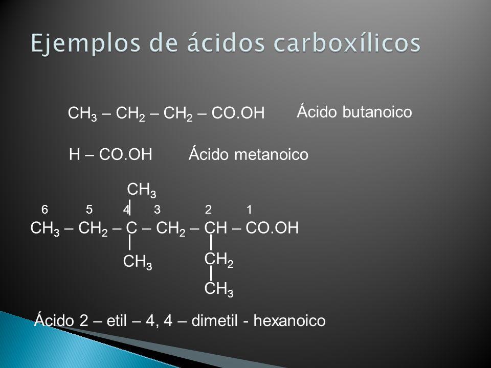 Ejemplos de ácidos carboxílicos