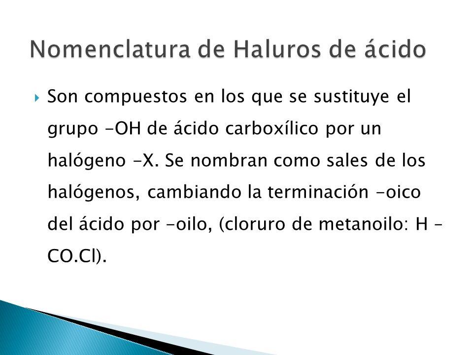 Nomenclatura de Haluros de ácido