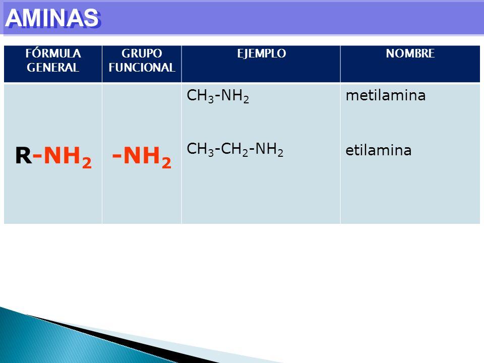 AMINAS R-NH2 -NH2 CH3-NH2 CH3-CH2-NH2 metilamina etilamina