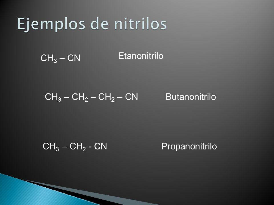 Ejemplos de nitrilos Etanonitrilo CH3 – CN CH3 – CH2 – CH2 – CN