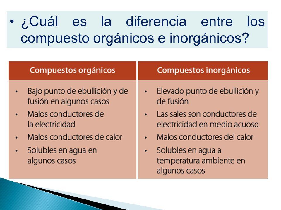 ¿Cuál es la diferencia entre los compuesto orgánicos e inorgánicos