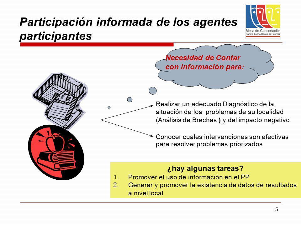 Participación informada de los agentes participantes