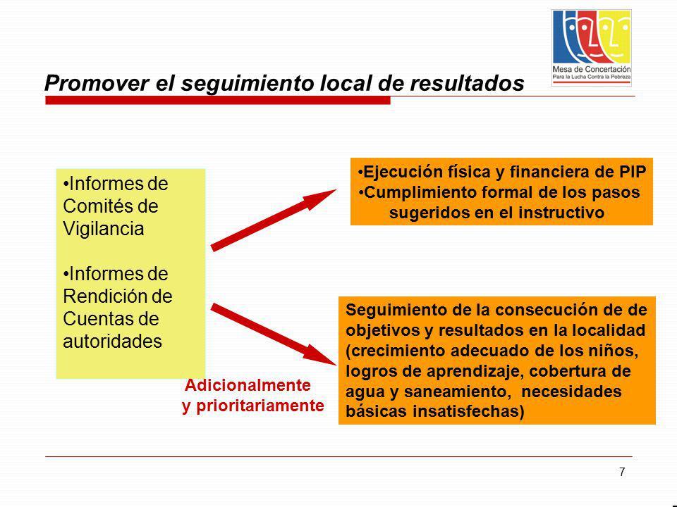 Promover el seguimiento local de resultados