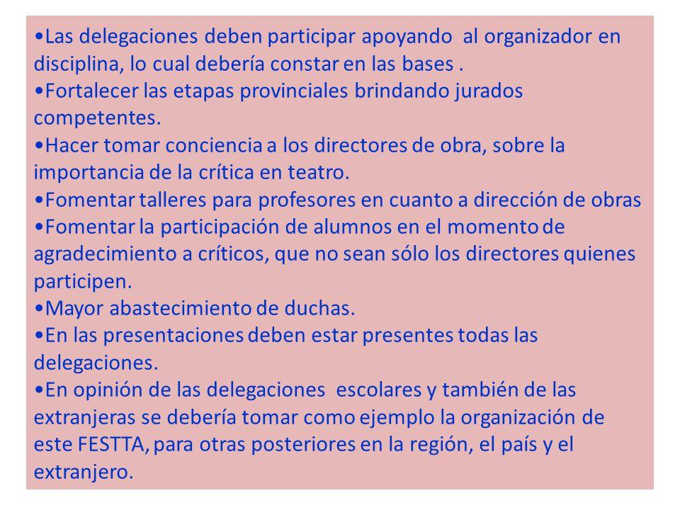 Las delegaciones deben participar apoyando al organizador en disciplina, lo cual debería constar en las bases .