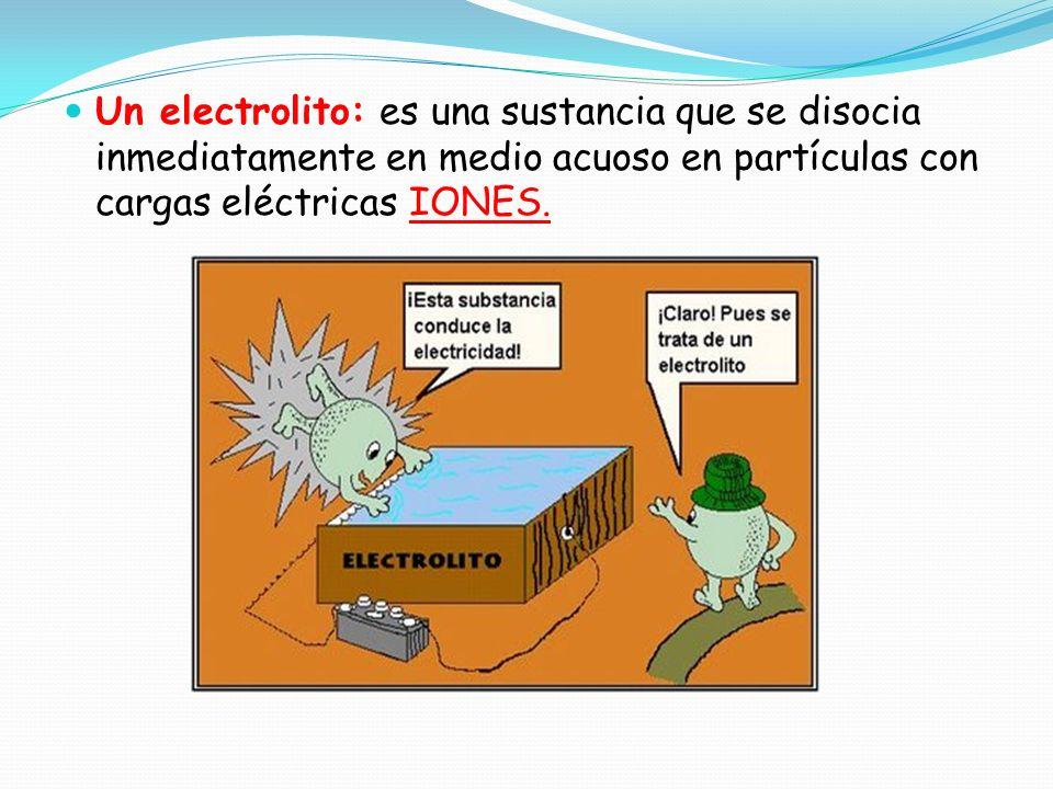 Un electrolito: es una sustancia que se disocia inmediatamente en medio acuoso en partículas con cargas eléctricas IONES.
