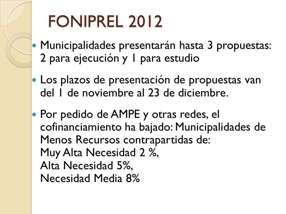 FONIPREL 2012 Municipalidades presentarán hasta 3 propuestas: 2 para ejecución y 1 para estudio.