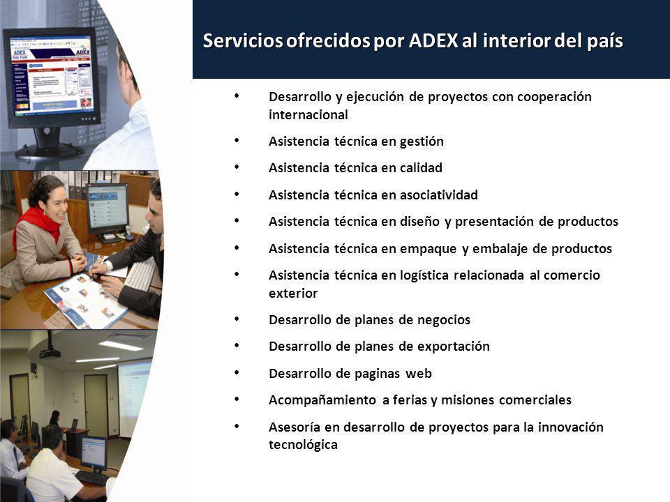 Servicios ofrecidos por ADEX al interior del país
