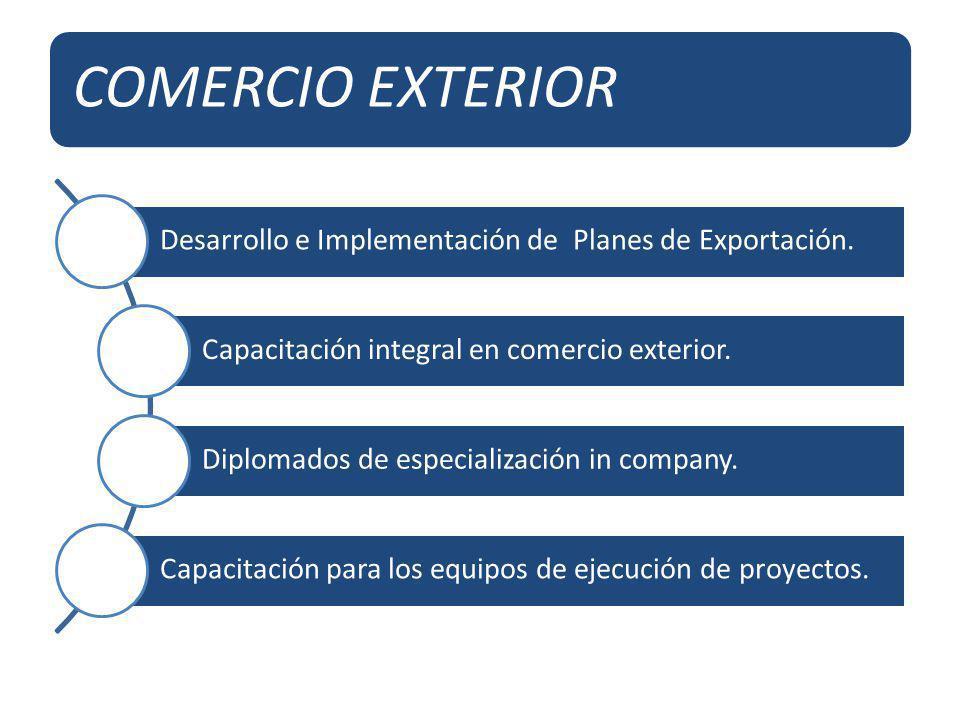 COMERCIO EXTERIOR Desarrollo e Implementación de Planes de Exportación. Capacitación integral en comercio exterior.