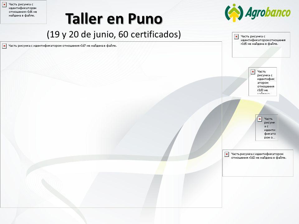 Taller en Puno (19 y 20 de junio, 60 certificados)