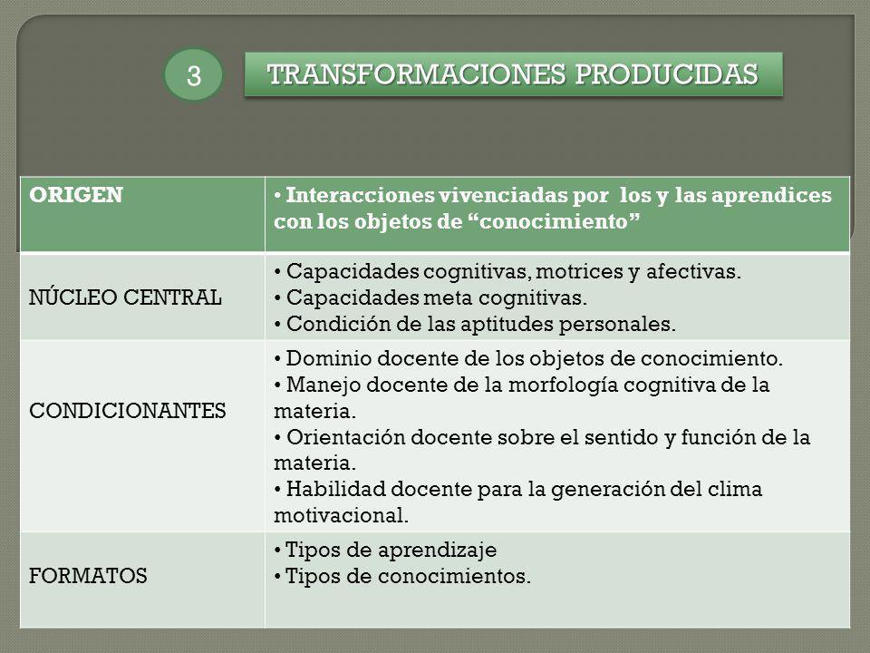 TRANSFORMACIONES PRODUCIDAS