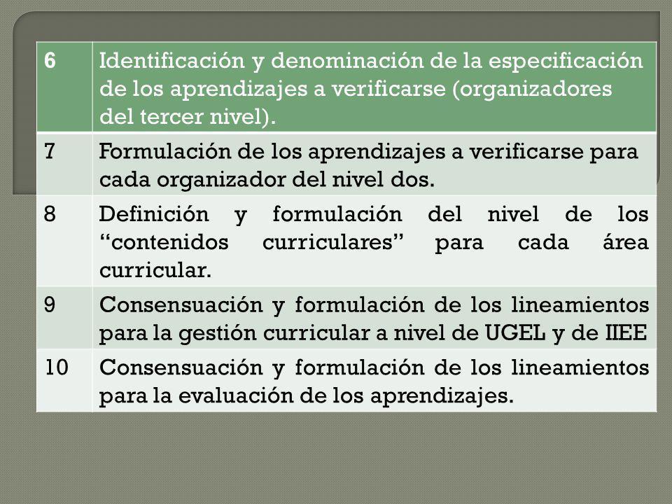 6 Identificación y denominación de la especificación de los aprendizajes a verificarse (organizadores del tercer nivel).