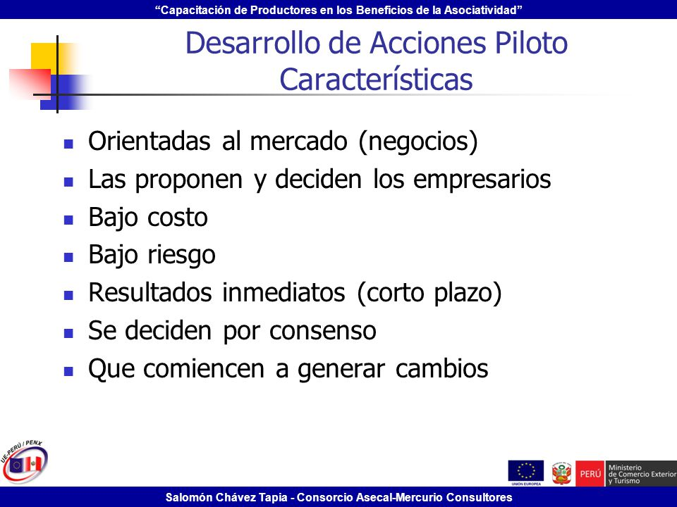 Desarrollo de Acciones Piloto Características